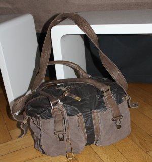 orig. Sissirossi Tasche Schultertasche graubraun taupe Leder Vintage Blogger