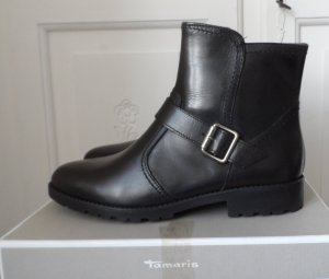 orig. TAMARIS Leder Stiefeletten Gr. 40 Schwarz mit Fütterung aus Wolle NEU m. Etikett
