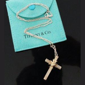 ORIG. TIFFANY & Co. HALSKETTE mit KREUZ 925 Silber / 750 GOLD chain cross * GUTER ZUSTAND