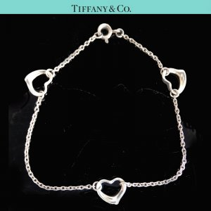 ORIG TIFFANY & Co. PERETTI OPEN HEART ARMBAND mit 3 HERZ-ANHÄNGERN 925 Silber