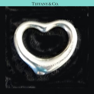 ORIG TIFFANY & Co. PERETTI OPEN HEART HERZ-ANHÄNGER MEDIUM CHARM Silber NP 170