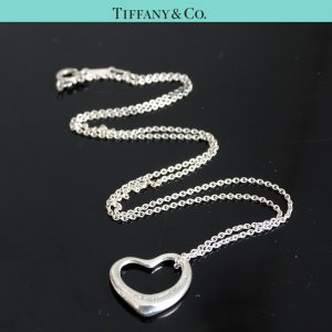 ORIG. TIFFANY & Co. PERETTI OPEN HEART KETTE m. HERZ-ANHÄNGER L 925 Silber / TOP