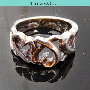 ORIG. TIFFANY Co. THREE HEARTS RING Sterling Silber EU51 US5,7 / GUTER ZUSTAND