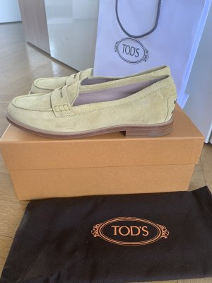 Tod's Slippers pale yellow suede