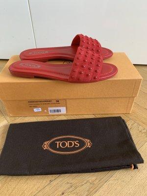 Orig TODS Tod's Sandalen Schlappen Noppen Wildleder NEU 385€ 36 (36,5) Pantoletten rot