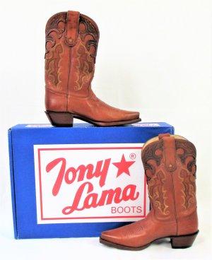 "Orig. TONY LAMA Western-Cowboy Boots-""Vaquero"" Stiefel /Cognac/Braun/Rindsleder/Gr. 36.5 B/NEU!"
