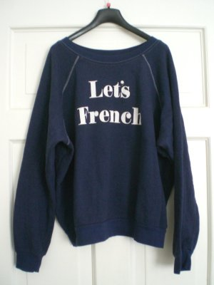 Orig. Topshop Sweater Pulli L 40 42 Let´s French Dunkelblau NEU!