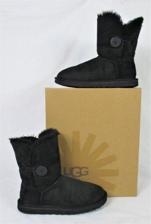 Orig. UGG Bailey Button Boots/ Leder/Lammfell/schwarz/SUPER ZUSTAND!