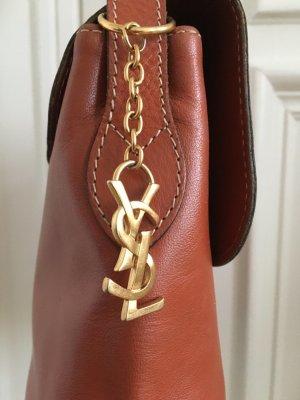 Orig. YSL Yves Saint Laurent Handtasche Vintage Tasche cut out monogram cognac