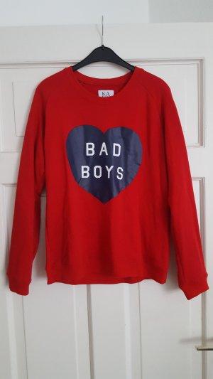 Orig. Zoe Karssen Sweater L Heart Love Bad Boys Pullover Pulli Rot