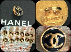 Chanel Button gold-colored-dark blue metal