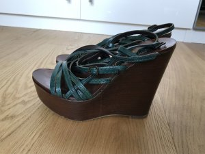 2 Love Tony Cohen Platform High-Heeled Sandal dark brown-dark green leather
