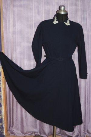original 30er Kleid Petticoat Stickerei 38 Wollgeorgette