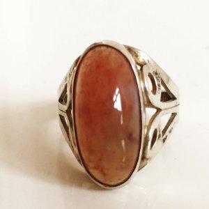 Original 835 Silber Fischland Ring Achat Karneol Chalcedon Edelstein Silberring Vintage Sixties