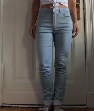 Acne High Waist Jeans azure cotton