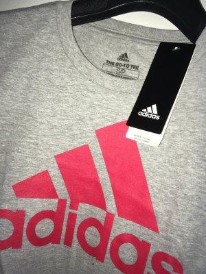 Adidas T-shirt de sport gris-rouge fluo