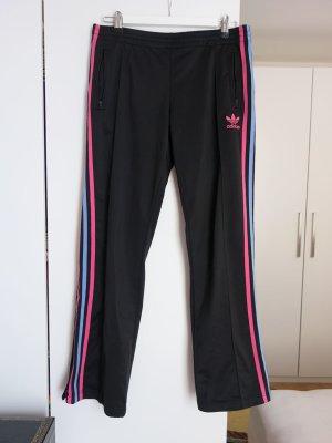 Adidas Pantalone fitness nero-rosso lampone