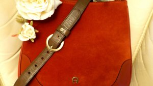 Aigner Leather Belt olive green-gold-colored leather