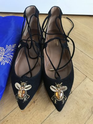 Original AQUAZZURA Flats Christy Neu schwarz 36 Wildleder 595€ Ballerinas Pumps