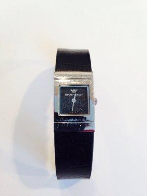 Original Armani Armbanduhr schwarz Leder mit Silber