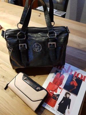 Armani Jeans Handbag black-silver-colored imitation leather