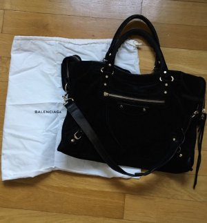 Original Balenciaga City Velours Bag in Schwarz