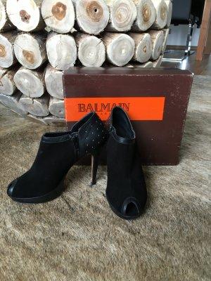 Original BALMAIN Wildleder Ankle Boots, Peep Toes, High Heels Gr. 37