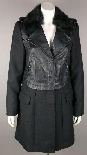Original Blonde no 8 Mantel mit Leder und Echtfell Kragen Neu Gr 40