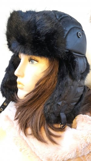 Fur Hat black-white polyester