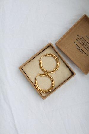 Original Brie Leon Ohrringe Gold Hoops Vintage Look