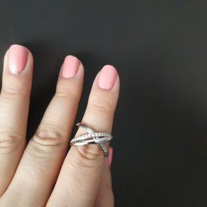 Statement ring wit-zilver Edelstaal