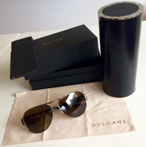 Bulgari Aviator Glasses dark brown-bronze-colored
