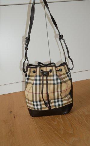 Original Burberry Beuteltasche petit bucket Luxus Handtasche Tasche Haymarket Check