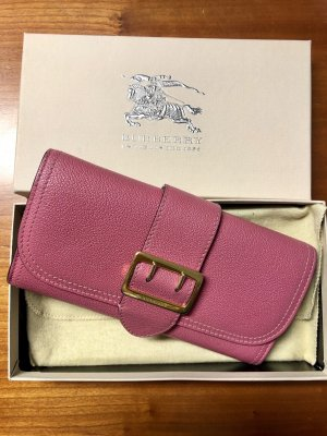 Original Burberry Grainy Wallet Buckle Gold pink