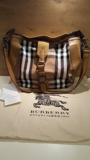 Original Burberry Handtasche, Large Leather Bag, Leder & Canvas