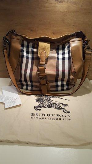 Original Burberry Handtasche, Large Leather Bag, Leder & Canvas