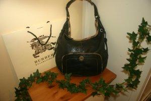 Original Burberry Leder Handtasche Hobo Beutel Tasche schwarz