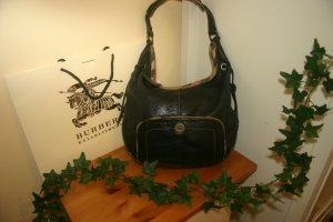 Original Burberry Leder Handtasche Hobo Beutel-Tasche schwarz