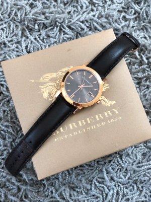 Burberry Reloj con pulsera de cuero marrón oscuro-color oro