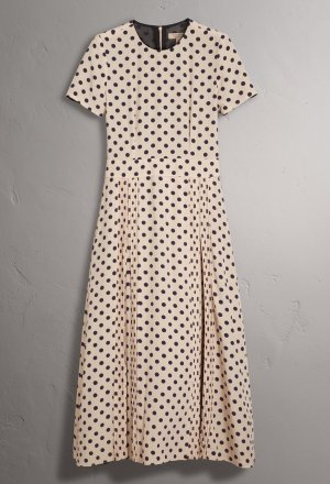 Burberry A-lijn jurk wolwit-donkerbruin Zijde