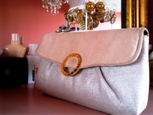 Original Bvlgari / Bulgari Clutch Nude Silber Gold Glamour Tasche