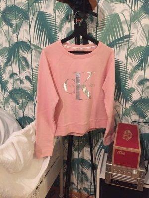 Original Calvin Klein Jeans Sweater / Pulli rosa & Silber