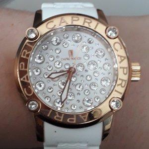 Reloj con pulsera de cuero color rosa dorado-blanco