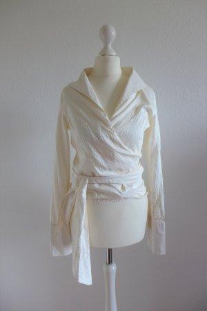 Original Carolina Herrera Seide Wickelbluse Bluse Langarm weiß creme Gr. 34