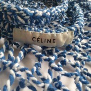 Celine Sac seau blanc-bleu coton
