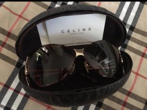 Celine Butterfly Glasses dark brown-gold-colored