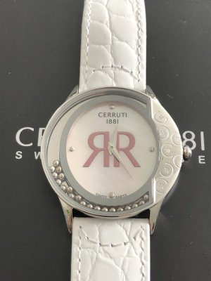 cerruti 1881 Watch With Leather Strap white-silver-colored stainless steel