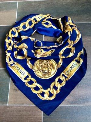 Original Chanel 31Rue Cambon Paris Schal Seide Gold Blau Ketten Vintage