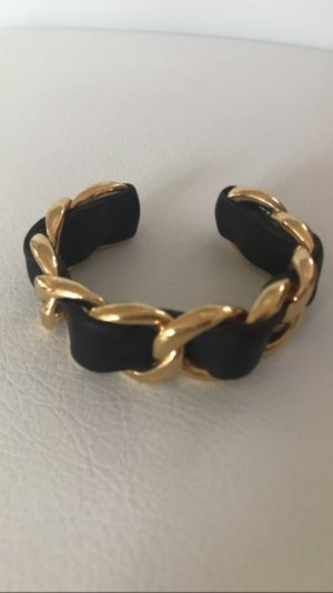 Chanel Bangle gold-colored-black leather
