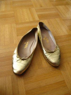 Original Chanel Ballerina in Gold Größe 37,5 Leder